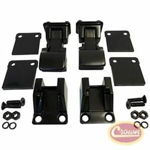 Jeep Cj And Wrangler 55 95 Black Powder Coat Stainless Tj Style Hood Latch Kit