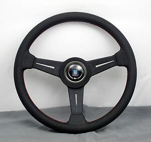 Nardi Classic Steering Wheel 340 Mm Black Perf Leather With Red Stitching