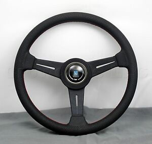 Nardi Classic Steering Wheel 340 Mm Black Perforated Leather With Red Stitching