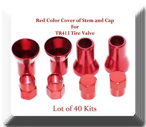 Lot 40 Sets Of Red Color Cover Of Stem And Cap For Tr413 Tire Valve