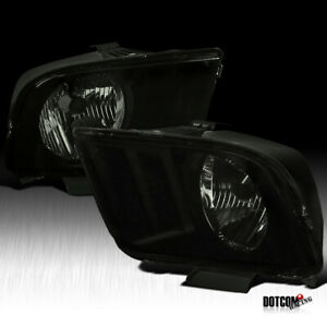 For 2005 2009 Ford Mustang Black Smoke Front Headlights Head Lights Lamps Pair