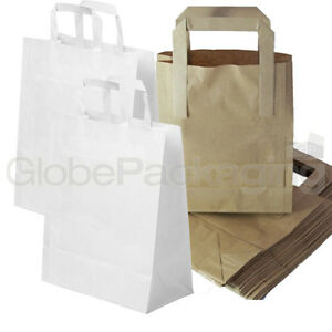Brown White Kraft Paper Sos Food Carrier Bags With Handles Party Takeaway Etc