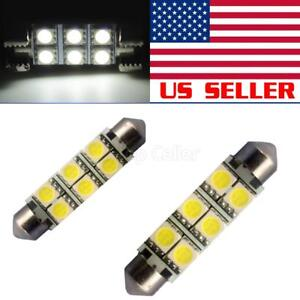 2x Usa Seller 6smd 5050 Led Festoon Interior Dome Map Light Bulb Xenon White 578