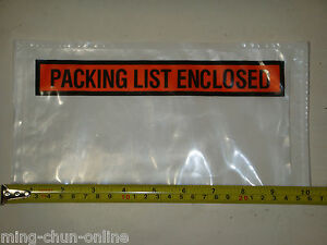 500x 5 5 X 10 Packing List Enclosed Envelope Pouch Slip Invoice Receipt