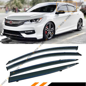 Oe Style Smoke Tinted Window Visor Rain Guard W Clips For 2013 2017 9th Accord