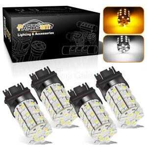 4x Amber White 3157 3457 3357 Switchback 60 3528 Smd Led Turn Signal Light Bulb