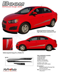 Boom Lower Rocker Panel Hood Graphics Decals Stripes Fits 2012 2016 Chevy Sonic