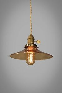 Vintage Industrial Pendant Light With Amber Glass Shade