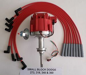 Dodge Small Block 273 318 340 360 1964 89 Hei Distributor Red Spark Plug Wires