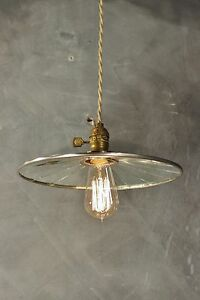 Vintage Industrial Pendant Lamp With Flat Mirror Reflector Shade Antique Machi