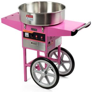 Electric Commercial Cotton Candy Machine Floss Maker Pink Cart Stand Vivo