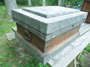 Vintage Wood Metal Strongbox Treasure Chest Trunk Industrial Chic Style