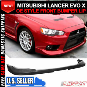 For 08 15 Lancer Evo X 10 Oe Factory Style Front Bumper Lip Unpainted pu