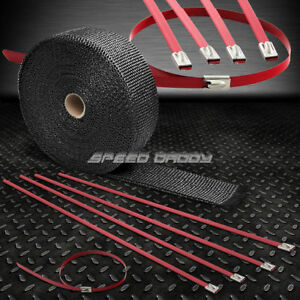 32 10m 2 W Cat Back Exhaust Header Black Heat Wrap Stainless Red Zip Tie