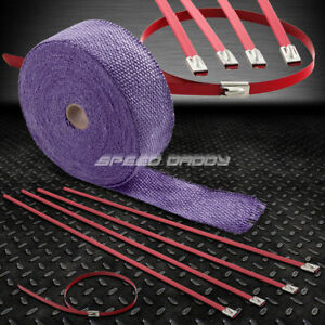 2 50ft 15m Fiberglass Exhaust Header Pipe Manifold Purple Heat Wrap Red Zip Tie