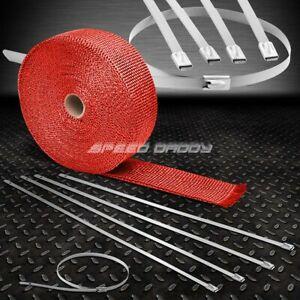 32 10m 2 W Turbo Manifold Header Red Heat Wrap Stainless Silver Zip Tie