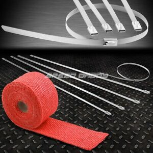 15ft 180 l 2 w Header Exhaust Turbo Red Heat Wrap stainless Silver Zip Tie