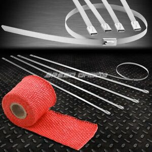 5ft 60 L 2 W Header Exhaust Turbo Red Heat Wrap Stainless Silver Zip Tie