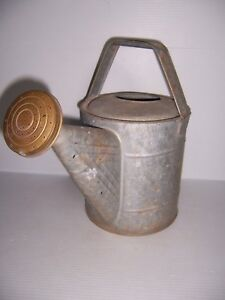 Antique Vintage Galvanized Watering Can With Brass Spout Nice