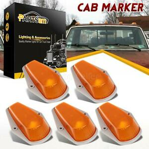5 Cab Roof Light Marker Amber Covers W Base Housing For 73 97 Ford F Super Duty