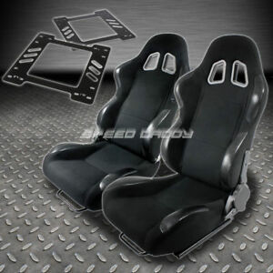 Pair Type 4 Reclining Black Cloth Racing Seat Bracket For 78 88 Monte Carlo A G