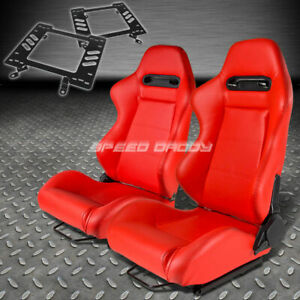 Pair Type r Red Pvc Reclining Racing Seat bracket For 79 98 Ford Mustang