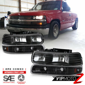 Chevy 99 02 Silverado 1500 2500 3500 Black Headlight bumper Parking Lamp 4pc Set
