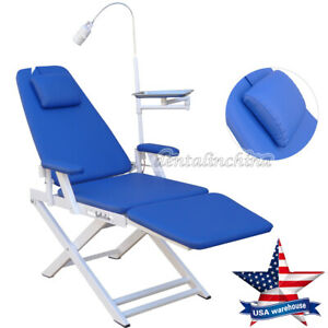 Gm c004 Dental Portable Simple Folding Chair Blue With Rechargeable Led Light Us