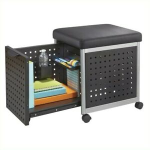 Filing Cabinet File Storage Scoot Mobile With Cushioned Seat In Black