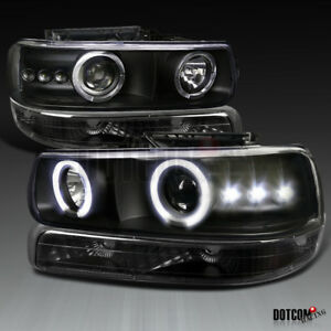 99 02 Silverado 00 06 Tahoe Suburban Black Led Projector Headlights bumper Lamps