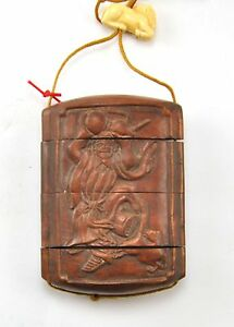 Vintage Boxwood Wood Immortal Gourd Netsuke Box Hanging Charm Case Pouch Inro