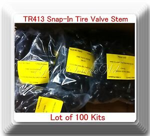 Lot 100 Tr 413 Snap In Tire Valve Stems Short Black Rubber Most Popular Valve