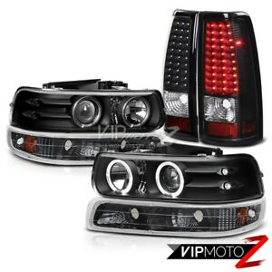 Halo Black Projector Headlight Bumper Lamp Led Tail Light Chevy 99 02 Silverado