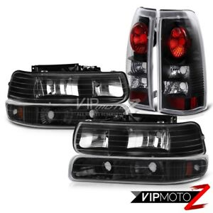1999 2002 Chevy Silverado 1500 2500 Black Headlights Bumper Signal Tail Lights