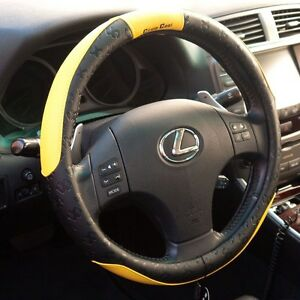 Black Yellow Pvc Leather Steering Wheel Cover Sport Design 51005 14 25 15 M