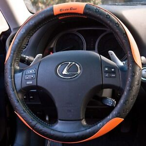 Black Orange Pvc Leather Steering Wheel Cover Sport Design 51007s 13 7 14 3