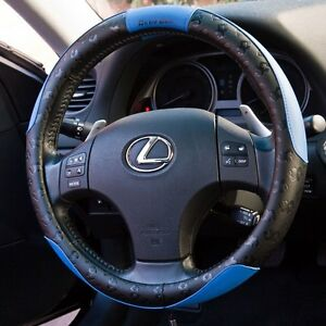 Black Blue Pvc Leather Steering Wheel Cover Sport Design 51006 14 75 15 25 L