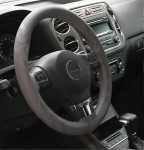 Gray Pvc Leather Diy Steering Wheel Cover Wrap Luxury W Needle Thread 43012