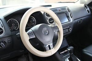 Beige Pvc Leather Diy Steering Wheel Stitch Cover Wrap W Needle