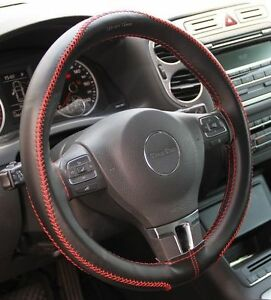 Black Red Thread Pvc Leather Diy Steering Wheel Cover Stitch Wrap Set 43009