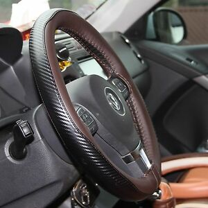 Brown Cf Style Pvc Leather Diy Steering Wheel Cover Wrap Needle Thread 47023