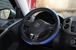 Black Blue Pvc Leather Diy Steering Wheel Cover Wrap W Needle