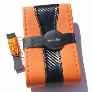 Orange Cf Style Pvc Leather Diy Steering Wheel Cover Wrap Needle Thread 47025