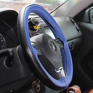 Blue Carbon Fiber Pvc Leather Diy Steering Wheel Cover Wrap Needle Thread 47022