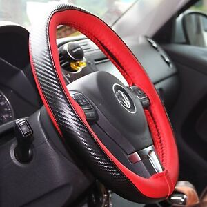 Red Carbon Fiber Pvc Leather Diy Steering Wheel Cover Wrap W Needle Thread 47021