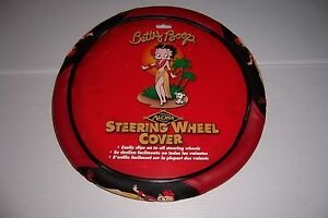 Betty Boop Aloha Red Black Car Truck Steering Wheel Cover By Plasticolor New