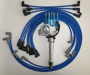 Small Block Chevy Blue Small Cap Hei Distributor Spark Plug Wires Under Exhaust