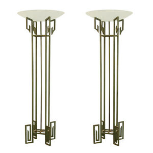 Pair French Art Deco Wrought Iron Torcheres