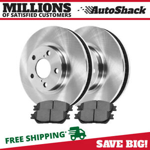Front 2 Brake Rotors 4 Ceramic Brake Pad For 04 2008 2009 2010 Toyota Sienna