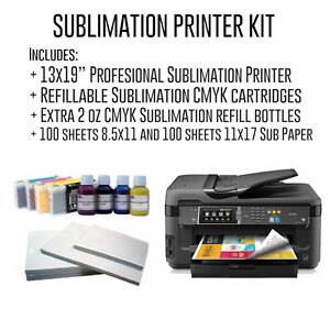 Complete Professional 13x19 Sublimation Kit With Refillable Cartridges Papers